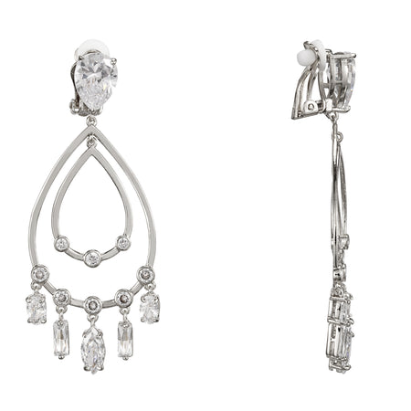 AMADORA DROP EARRING-RHODIUM