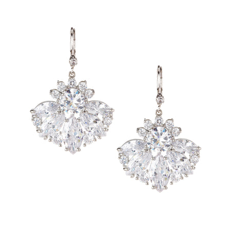 DIAN DROP EARRING-RHODIUM/WHITE
