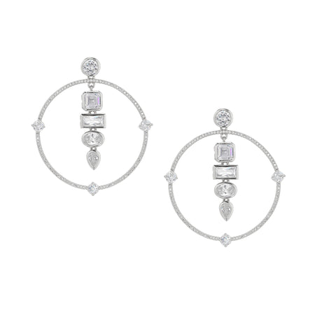 BRENNA DROP EARRING-RHODIUM/WHITE