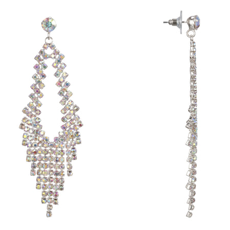 LUCIENNE DROP EARRING-RHODIUM/CLEAR