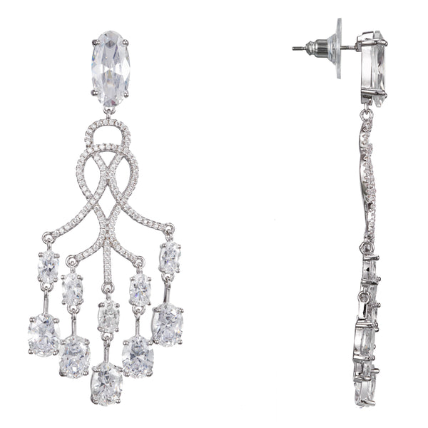 EVAMARIE CHANDELIER EARRING-RHODIUM