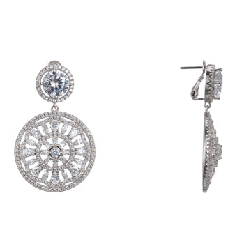 GABRIANA CLIP EARRINGS-RHODIUM