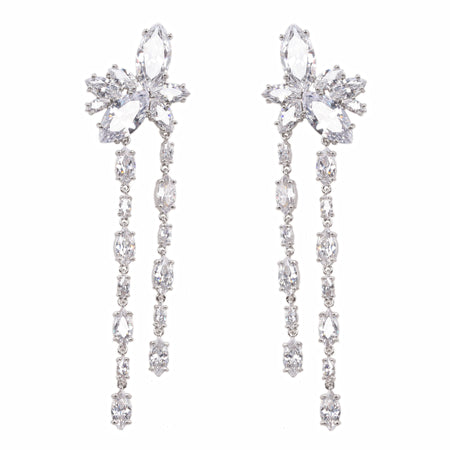 KALA CHANDELIER EARRING-RHODIUM/WHITE