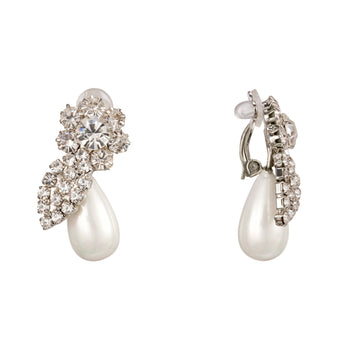 GWINIA CLIP EARRINGS-RHODIUM/WHITE