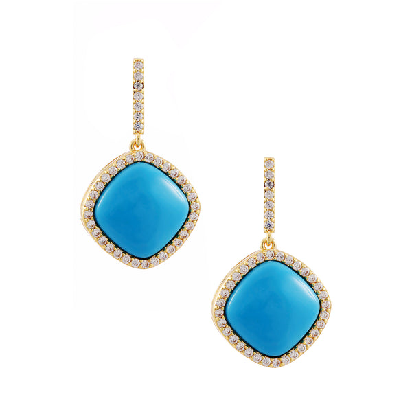 JACEY DROP EARRING-GOLD/WHITE/TURQUOISE