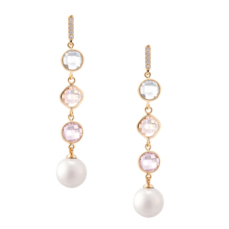 OLYVIA2 DROP EARRING-GOLD/WHITE