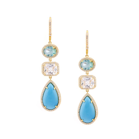 ROSINE DROP EARRING-GOLD/WHITE/TURQUOISE