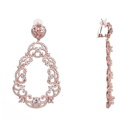 ERIN DROP EARRING-BLACK RHODIUM/ROSE/WHITE
