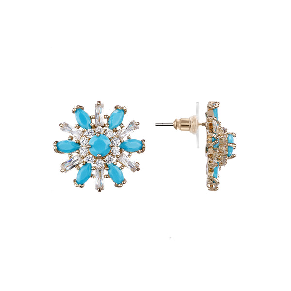 OLEANDER STUD EARRING-GOLD/WHITE/TURQUOISE