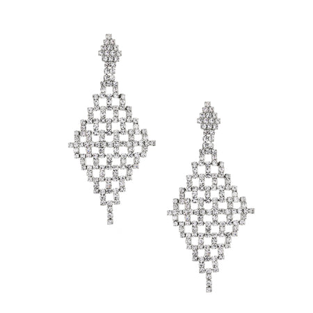 ZAYNA DROP EARRING-BLACK RHODIUM/WHITE/EMERALD