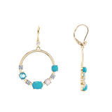 ZIANA HOOP EARRING-GOLD/WHITE/LIGHT BLUE/TURQUOISE
