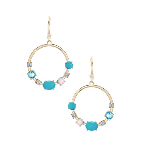 LORA DROP EARRING-GOLD/WHITE/LIGHT BLUE/TURQUOISE