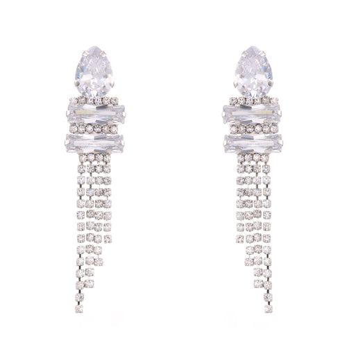 KAMRYN DROP EARRING-RHODIUM/WHITE