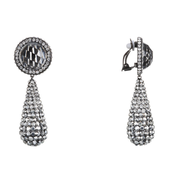 PARISA CLIP EARRING-BLACK RHODIUM