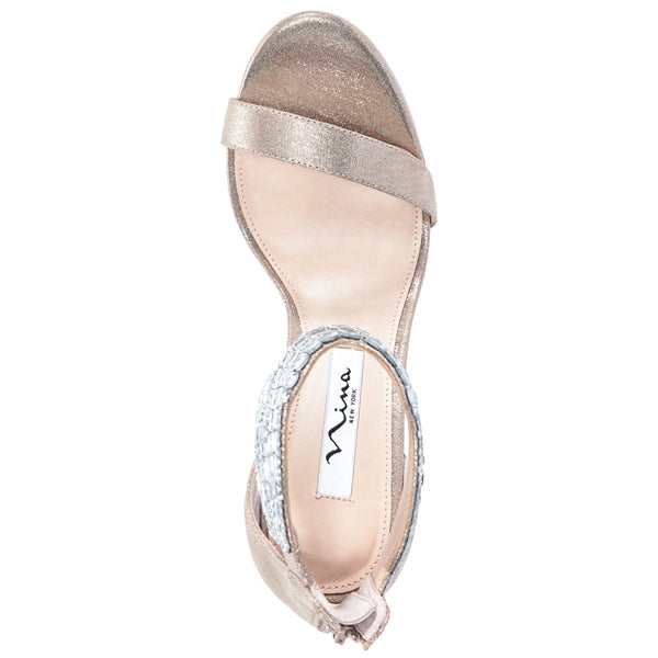 FAYTH-TAUPE REFLECTIVE SUEDETTE
