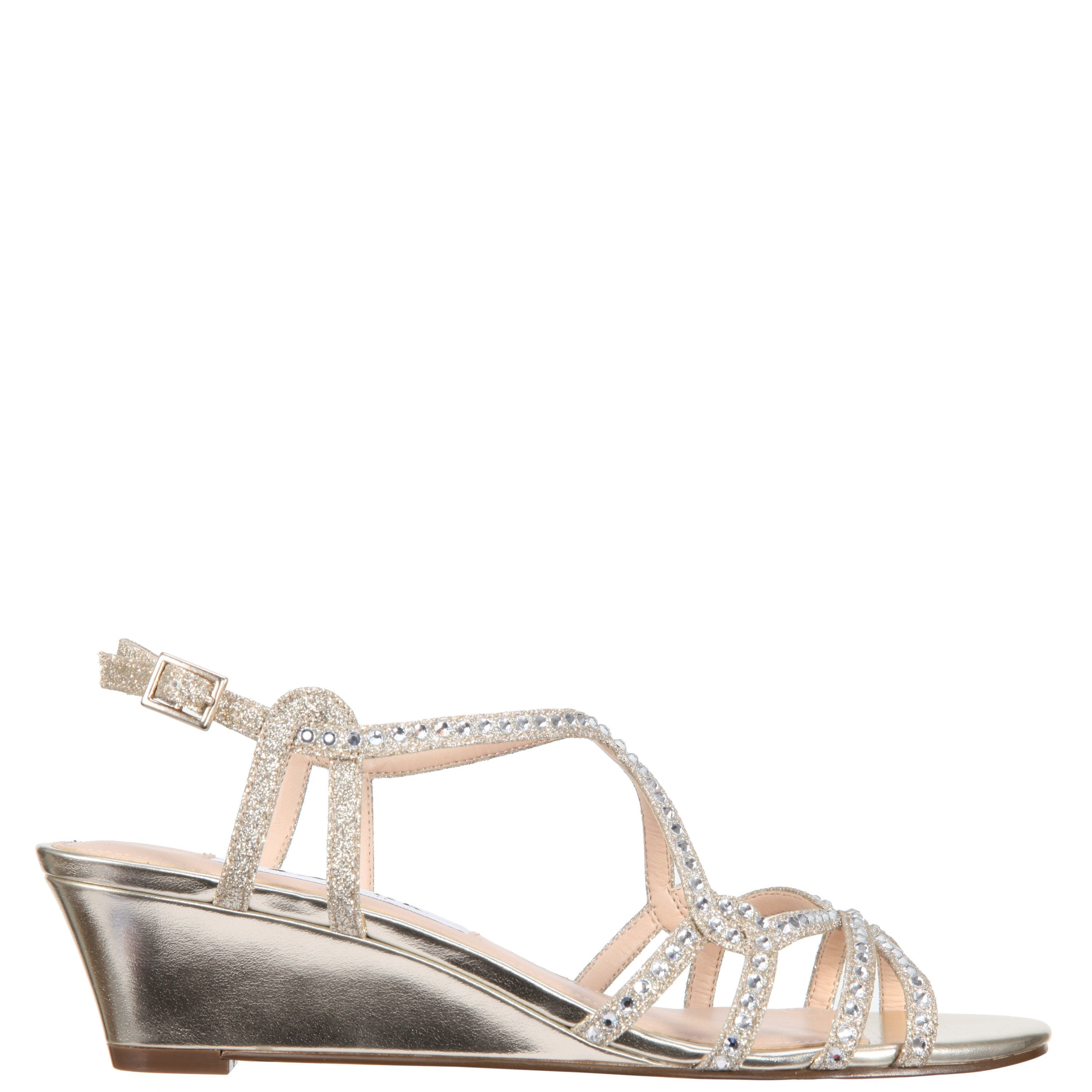 Nina Finola Glitter Ankle Strap Wedge Sandals