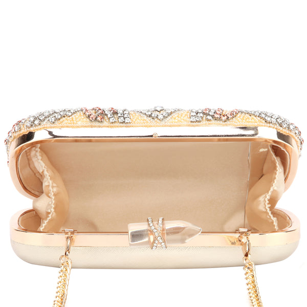 GELSEY CLUTCH-GOLD BEADED