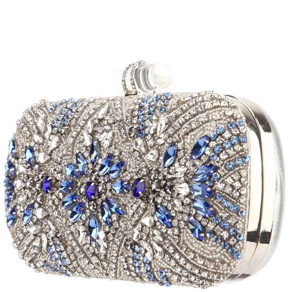 GELSEY CLUTCH-SILVER BEADED