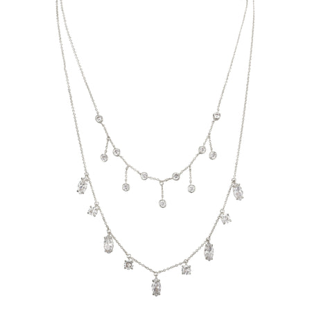 PALENCIA NECKLACE-RHODIUM PEARL