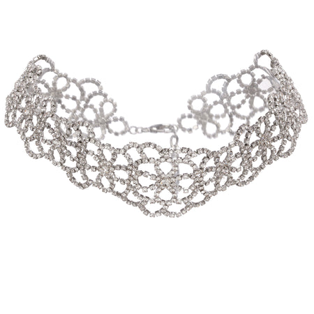 ALITA NECKLACE-RHODIUM/CLEAR/WHITE