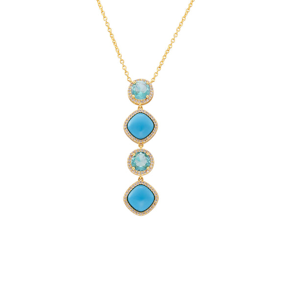 JACEY NECKLACE-GOLD/WHITE/TURQUOISE
