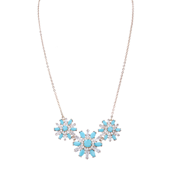 OLEANDER NECKLACE-GOLD/WHITE/TURQUOISE