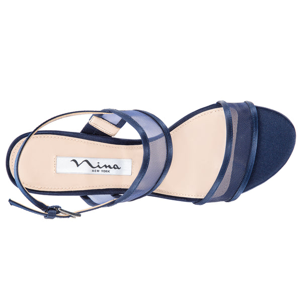 NELLEY-NEW NAVY-LUSTER SATIN/MESH