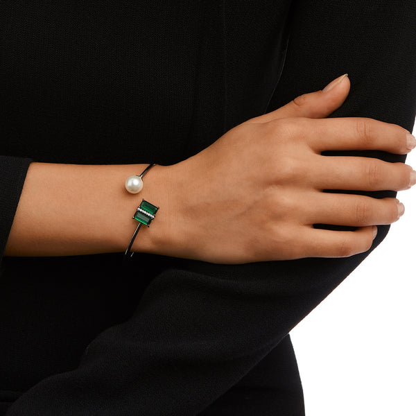 ZAYNA BRACELET-BLACK RHODIUM/WHITE/EMERALD