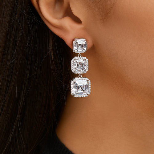 ERIN DROP EARRING-RHODIUM