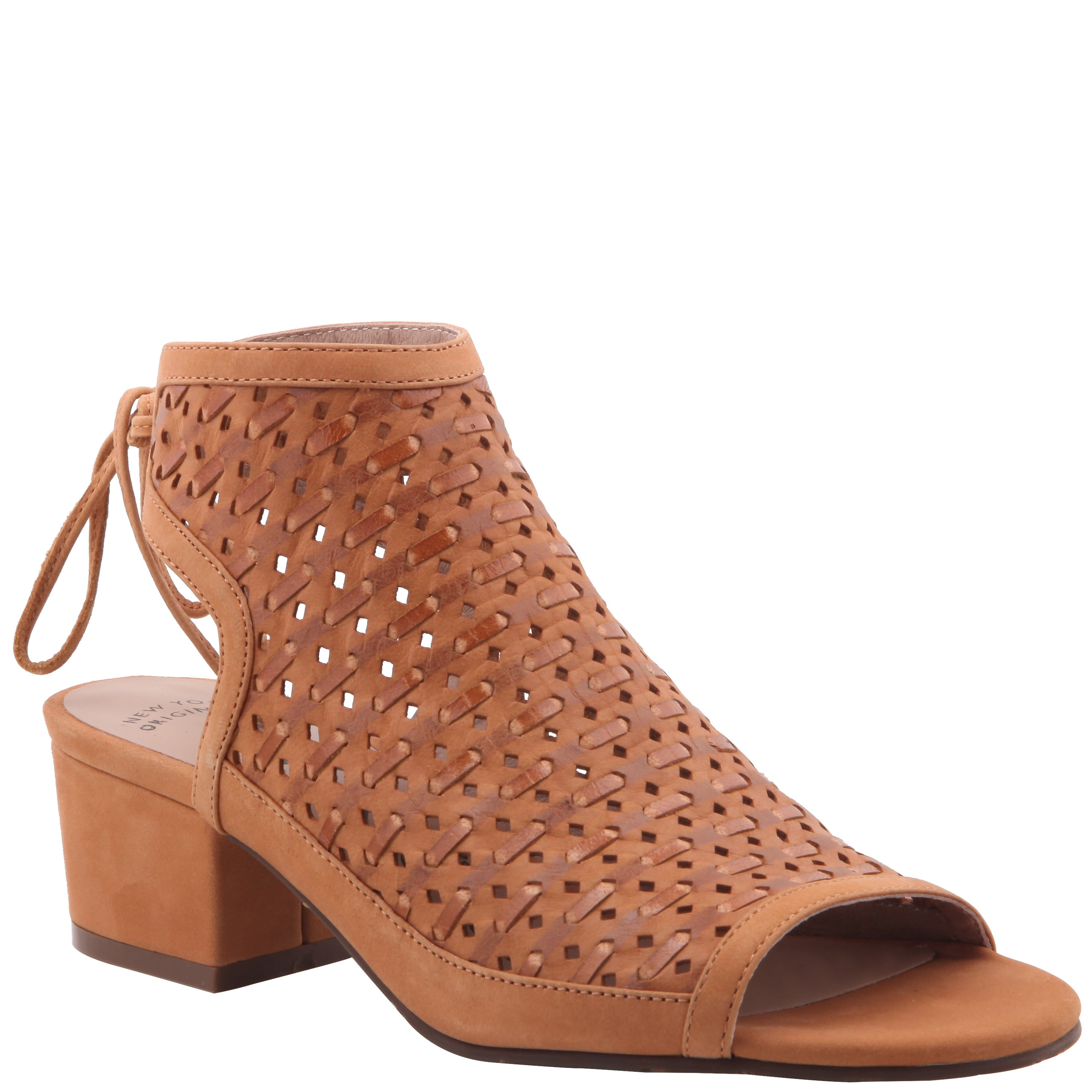 CAMEL PERFORATED WOVEN LEATHER