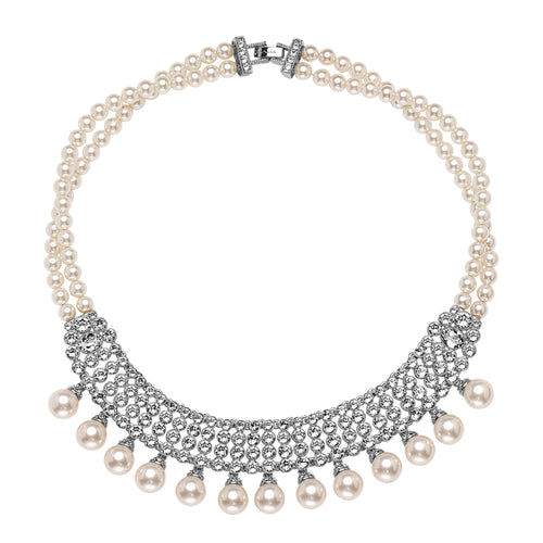 BLAIR NECKLACE-RHODIUM IVORY