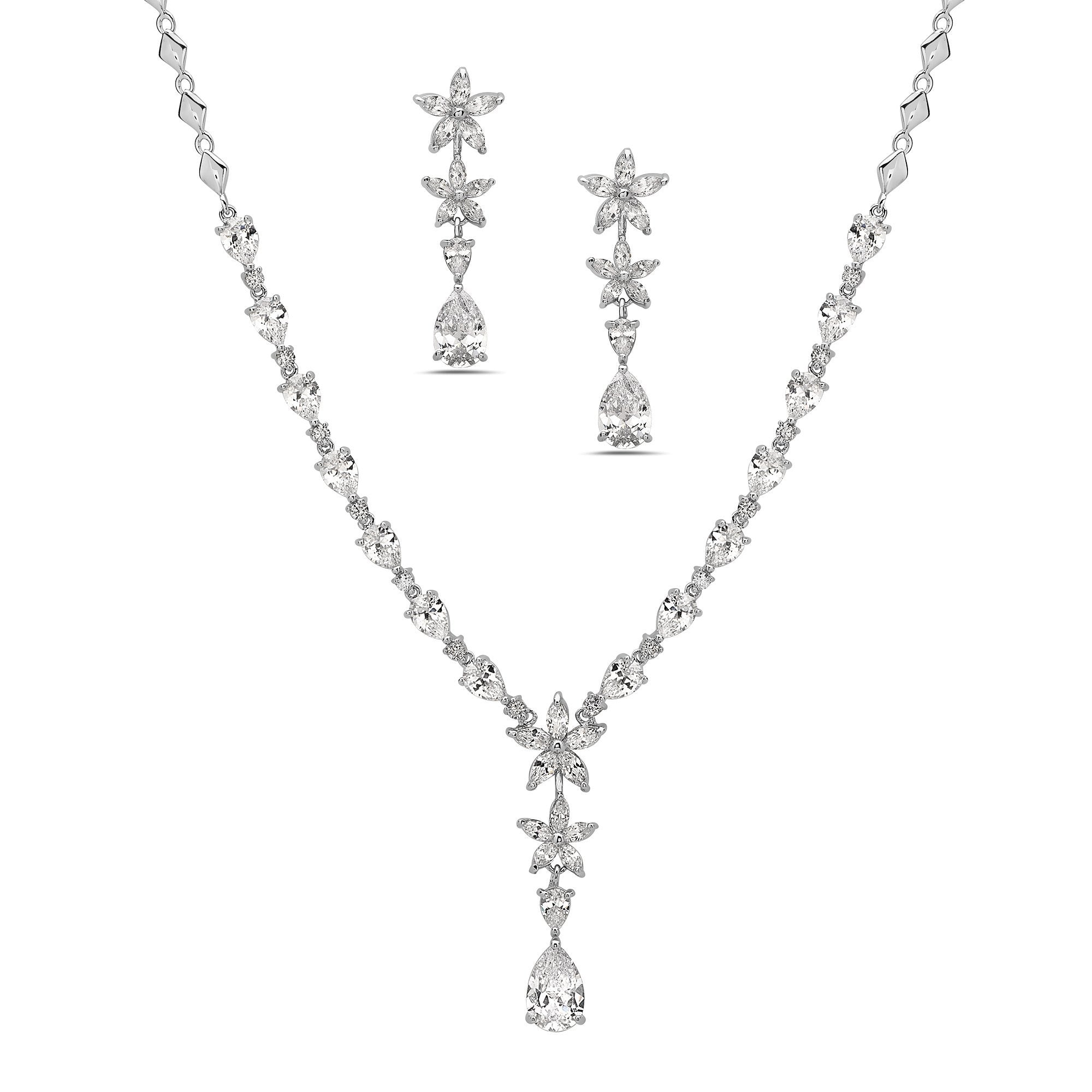 RHODIUM NECKLACE AND EARRING SET