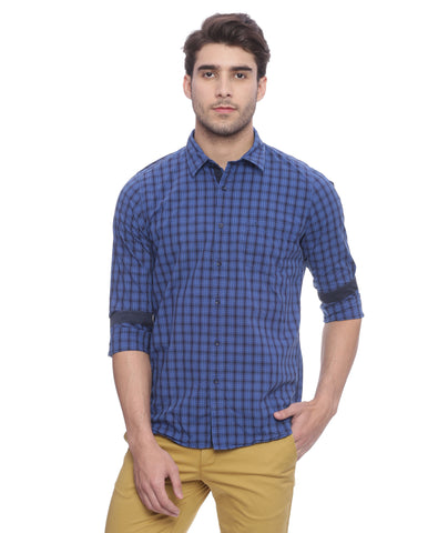 London Bridge Navy Blue Checkered Casual Shirt