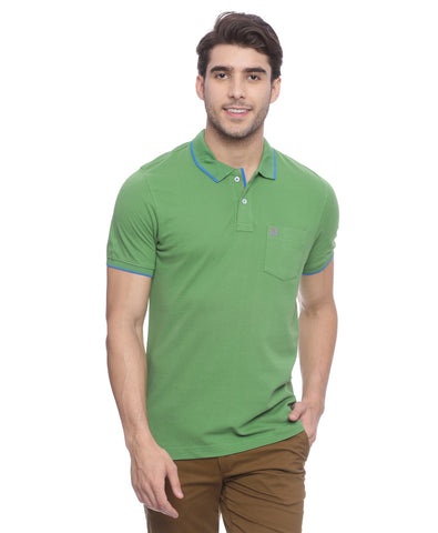 London Bridge Solid Green Polo Neck T-shirt