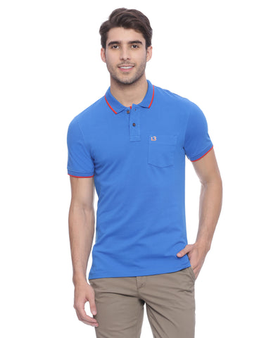 London Bridge Solid Blue Polo Neck T-shirt