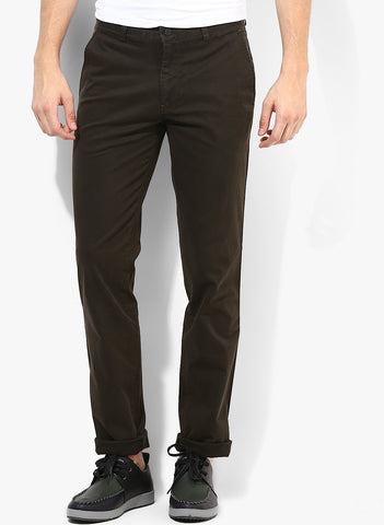 Solid Olive Green Casual Trouser With Stretch