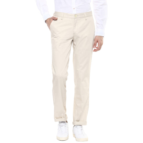 Solid Beige Casual Trouser