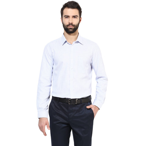 White And Blue Checkered Formal Shirt