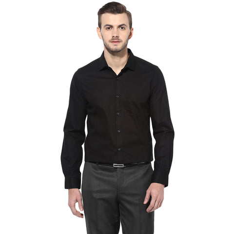 Black Structured Formal Shirt With Self Checks