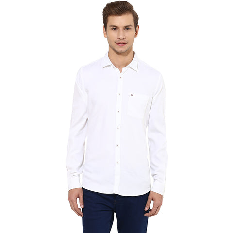 White Structured Casual Shirt