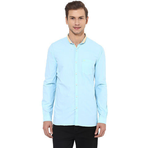 Solid Sky Blue Casual Shirt