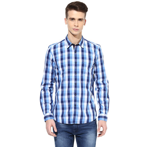 White And Blue Checkered Casual Shirt