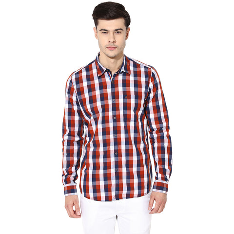 Orange And Blue Checkered Casual Shirt
