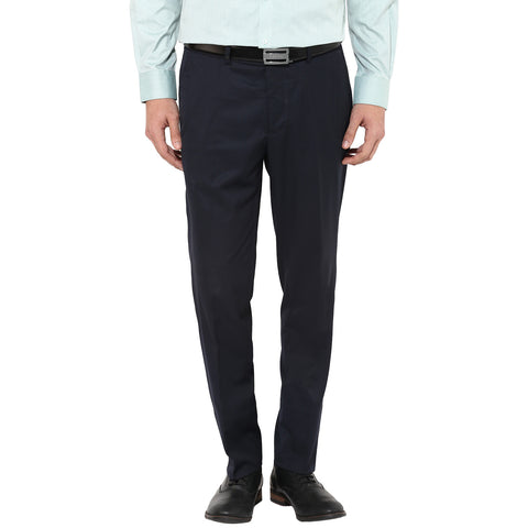 Solid Navy Blue Formal Trousers