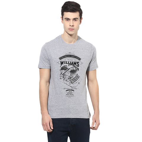 Grey Mélange Graphic Print Single Jersey Round Neck T-Shirt