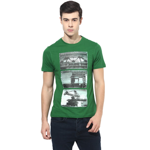 Green Graphic Print Single Jersey Round Neck T-Shirt