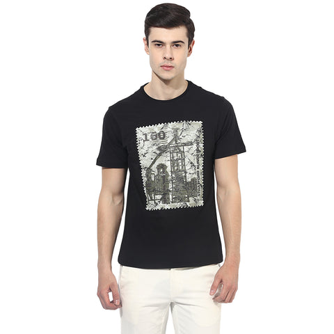 Black Graphic Print Single Jersey Round Neck T-Shirt