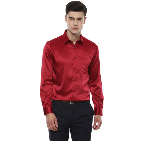 Solid Red Satin Partywear Shirt