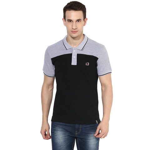 Black And Grey Color Block Pique Knit Polo T-shirt