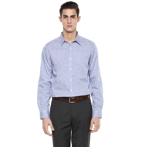 Slim Fit Formal Shirt With White & Blue Gingham Checks